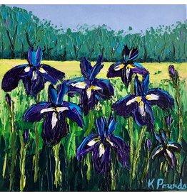 "Kelly Pounds IRISES, acrylic on gallery wrapped canvas, 12x12"", KELP"
