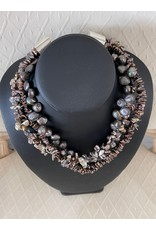 "Rare Finds NECKLACE, Chunky, Freshwater pearls, sterling, 16"" 3 strand, RARE"
