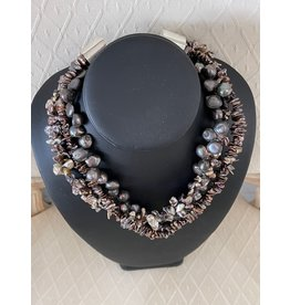 """Rare Finds NECKLACE, Chunky, Freshwater pearls, sterling, 16"""" 3 strand, RARE"""