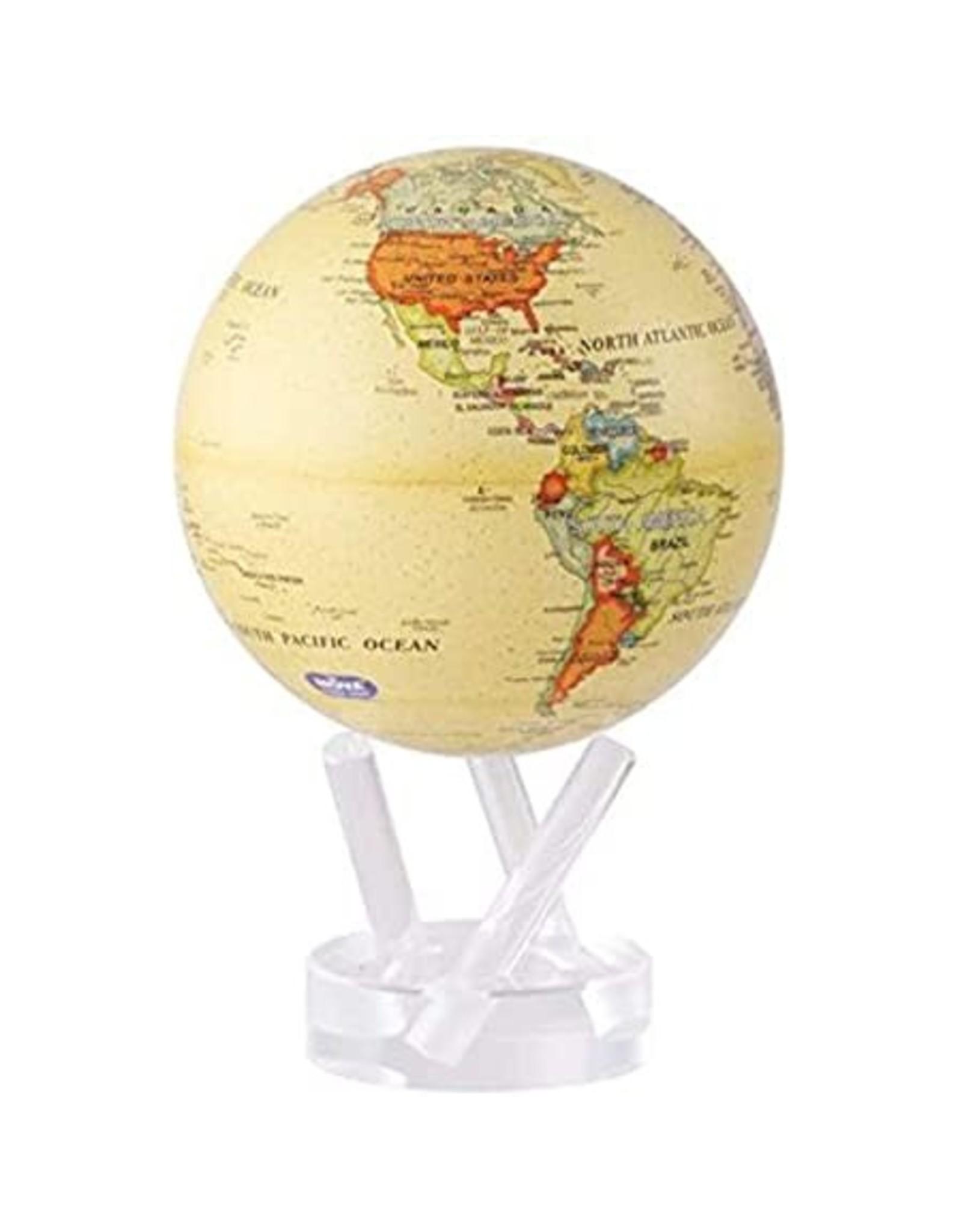 """Mova Globes POLITICAL MAP YELLOW (MOVA Globe 4.5"""" w/Acrylic Base)"""
