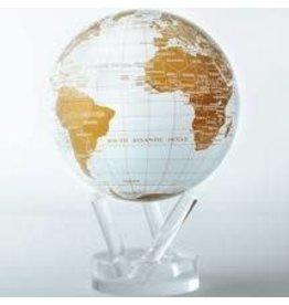 "Mova Globes WHITE & GOLD (MOVA Globe 4.5"" w/Acrylic Base)"