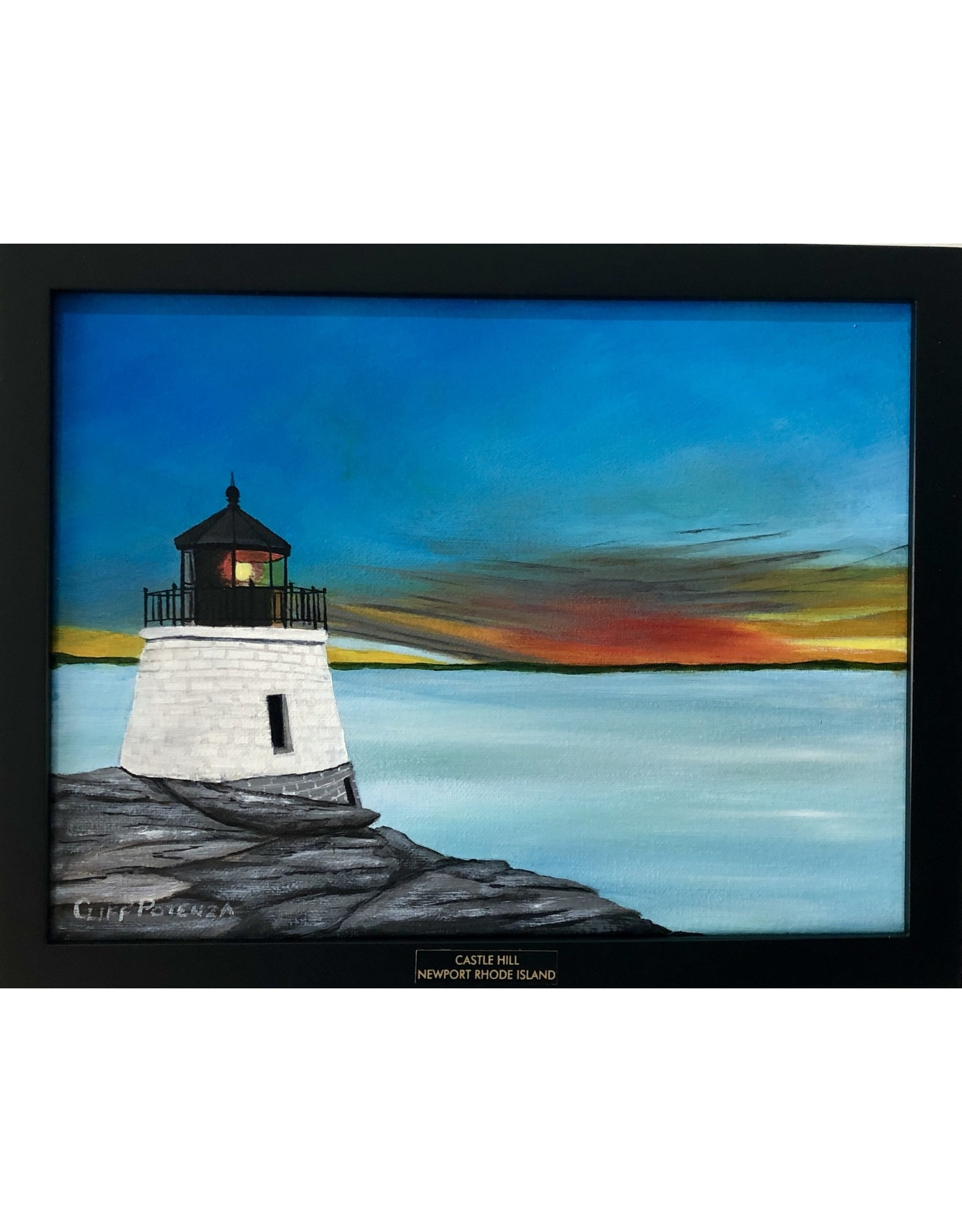 """Cliff Potenza LIGHTHOUSE, painting, acrylic on canvas, 10x13"""" framed, CLIP"""