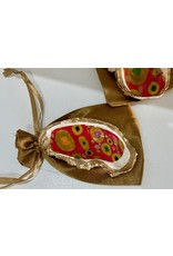 Pam Maschal OYSTER painted, red/gold, PAMM