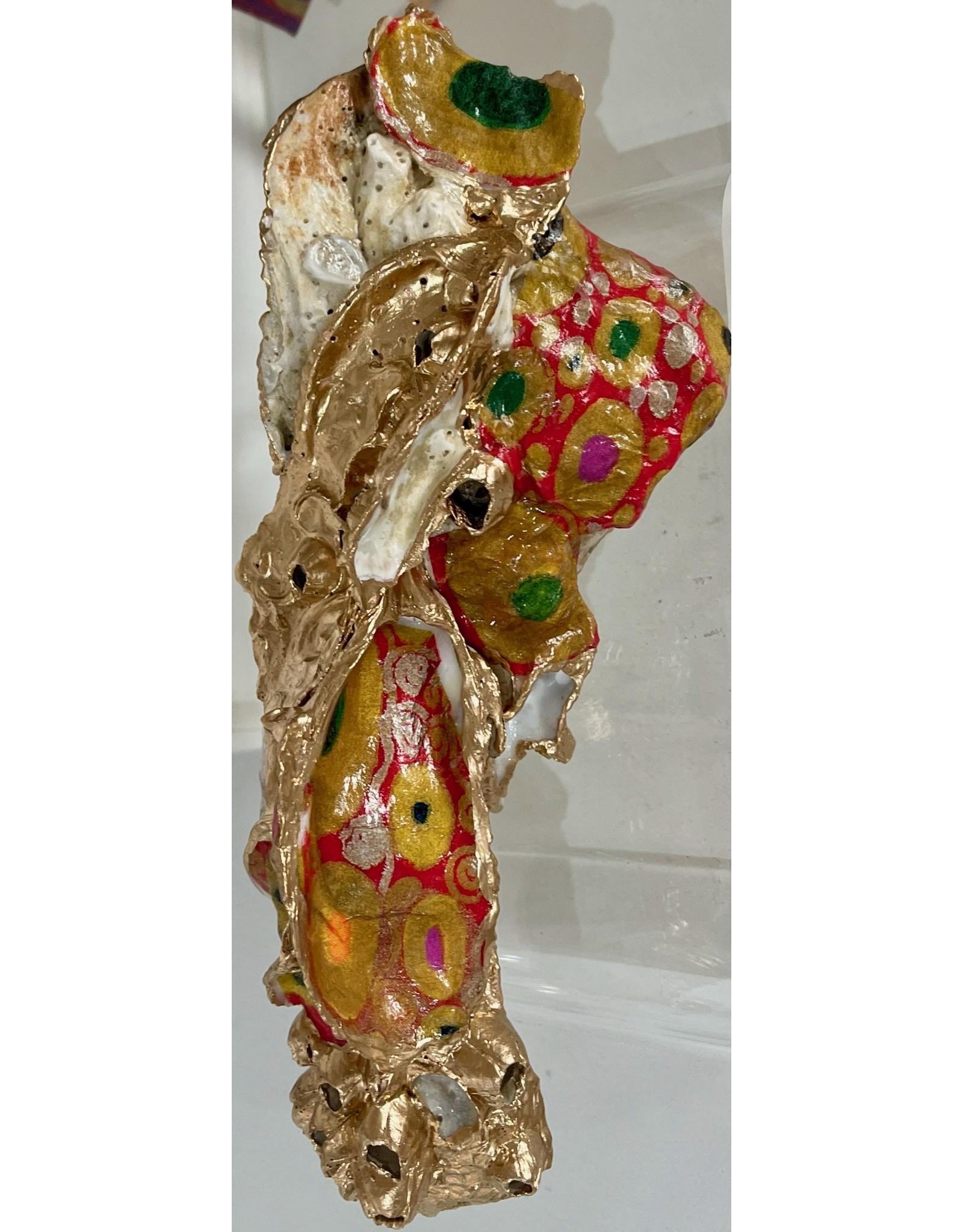 """Pam Maschal KLIMT OYSTER CLUSTER, Large, 8""""L, red/gold, PAMM"""