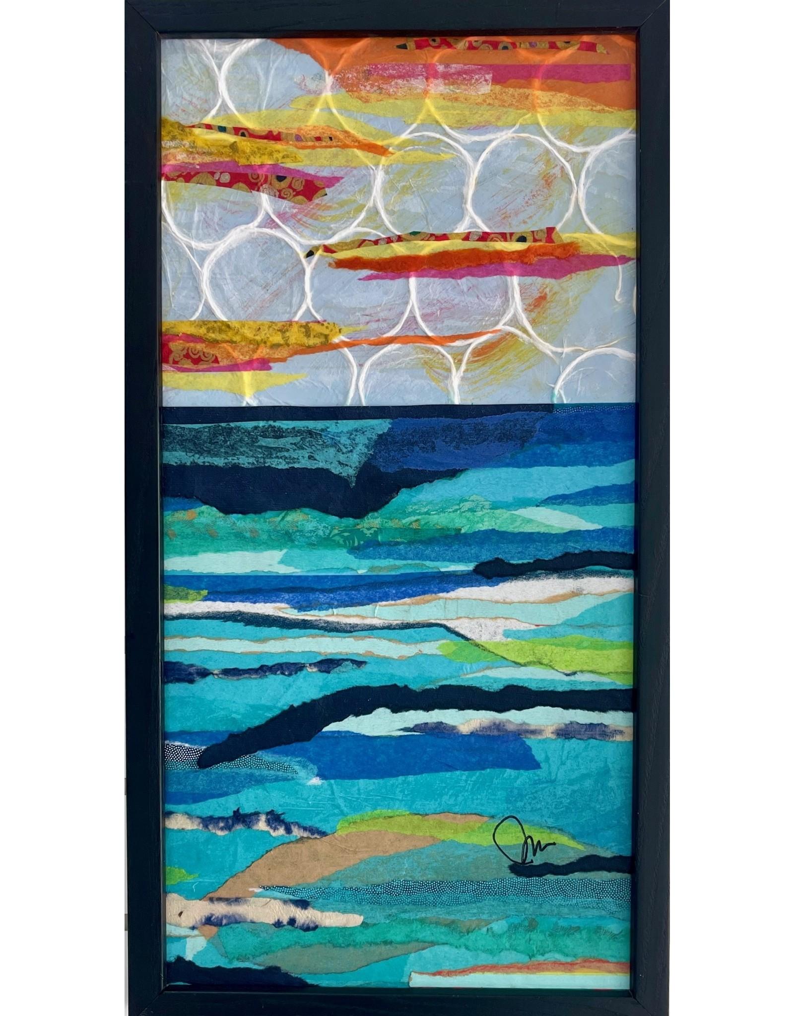 """Pam Maschal SEASCAPE TEXTILE (Mixed Media, 11x21"""" framed PAMM)"""