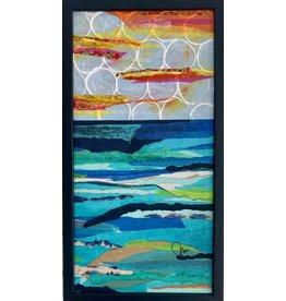 "Pam Maschal SEASCAPE TEXTILE (Mixed Media, 11x21"" framed PAMM)"