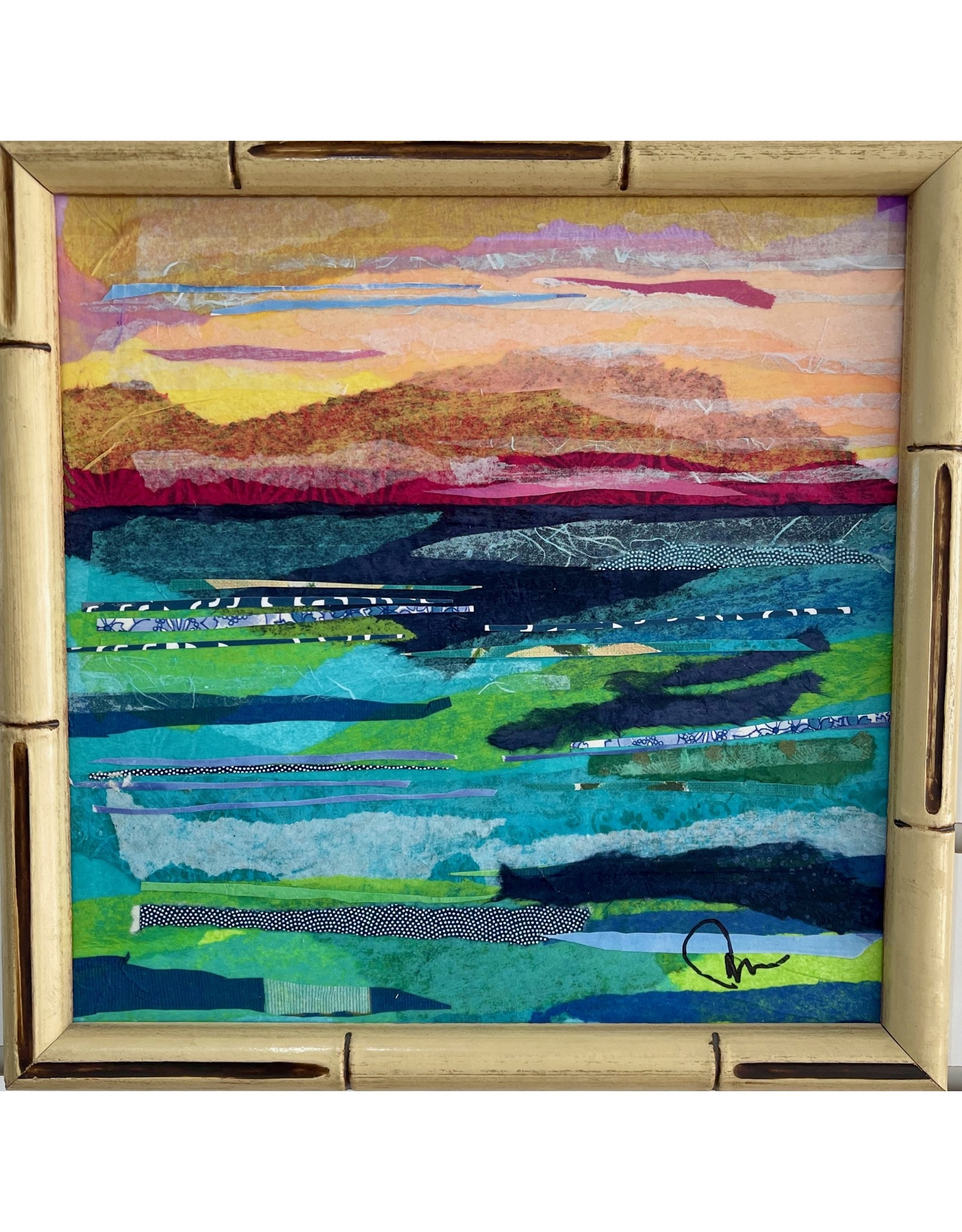 "Pam Maschal SEASCAPE TEXTILE (Mixed Media, 11x11""  vintage faux bamboo frame, PAMM)"