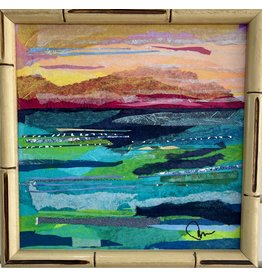 """Pam Maschal SEASCAPE TEXTILE (Mixed Media, 11x11""""  vintage faux bamboo frame, PAMM)"""