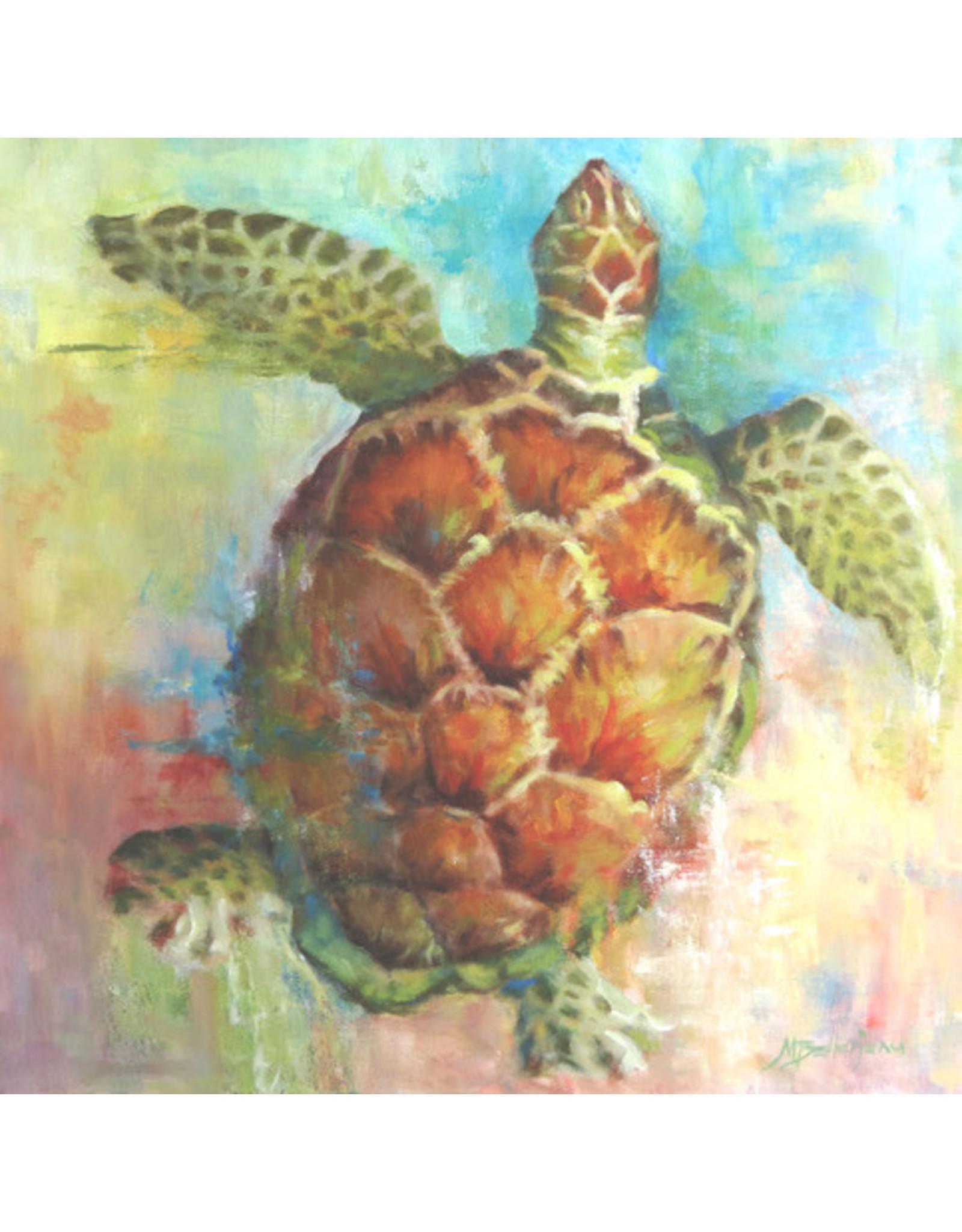 "Michaelann Bellerjeau CARIBBEAN CALICO. turtle, archival giclee on GW canvas, 16x16"" MICB"