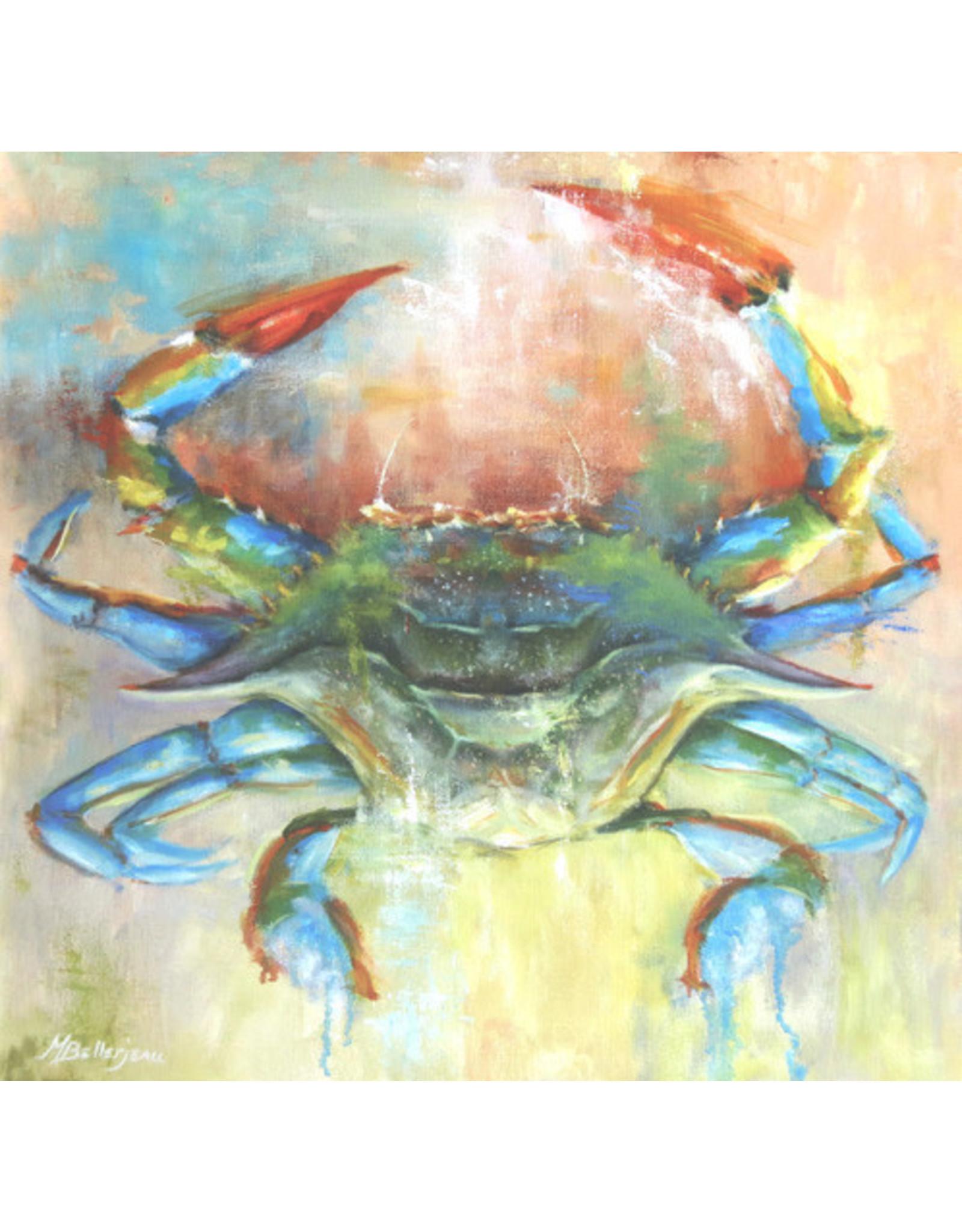"Michaelann Bellerjeau COBALT CRAB, original oil on GW canvas, 20x20"", MICB"