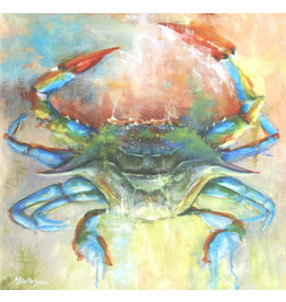 "Michaelann Bellerjeau COBALT CRAB, original oil on GW canvas, 20x20"", MICB"