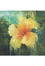 "Michaelann Bellerjeau TROPICAL TREASURE, yellow hibiscus, archival giclee on GW canvas, 16x16"", MICB"