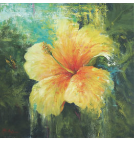 "Michaelann Bellerjeau TROPICAL TREASURE, yellow hibiscus, archival giclee on GW canvas, 16x16"", MICB"