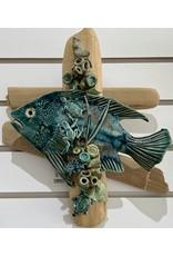 """Ellen Robinson DRIFTWOOD SCULPTURE w/sea creatures, hanging, 12x10"""" EJAY"""
