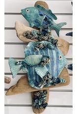 """Ellen Robinson DRIFTWOOD SCULPTURE w/sea creatures, hanging, 13x21"""" EJAY"""