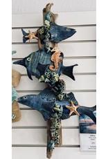 """Ellen Robinson DRIFTWOOD SCULPTURE w/sea creatures, hanging, @26-28"""" EJAY"""
