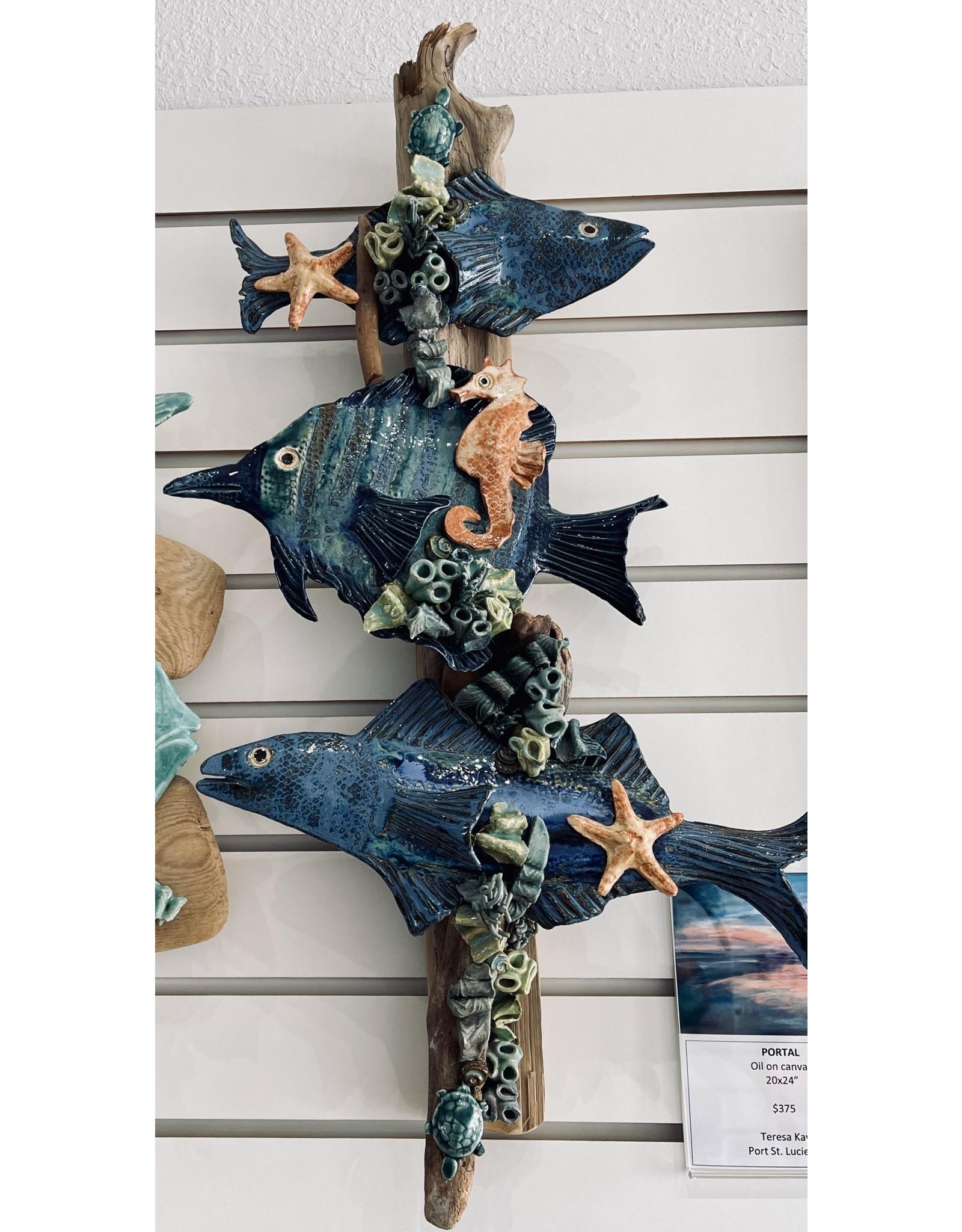 """Ellen Robinson DRIFTWOOD SCULPTURE w/sea creatures, hanging, 26"""" EJAY"""