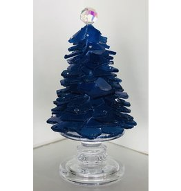 "Susan Marinaccio SEA GLASS TREE, on pedestal w/Swarovski crystals 12"" SUSM"