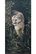 "Carol Merritt FLORIDA PANTHER ON THE PROWL, embellished giclee, 18 x 34"" framed, CARM"