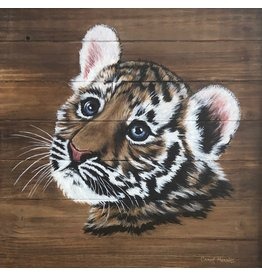 Carol Merritt TIGER CUB, acrylic on panel,  13.5 sq, CARM
