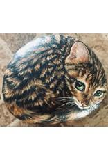 """Carol Merritt TABBY CAT, painting on rock, 7.5"""", CARM"""