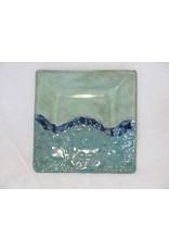 "Clarkware Pottery APPETIZER PLATE, Blue, 6"" sq, CLARK"
