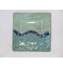 "Clarkware Pottery APPETIZER PLATE, Blue, 6"" sq, CLARK"