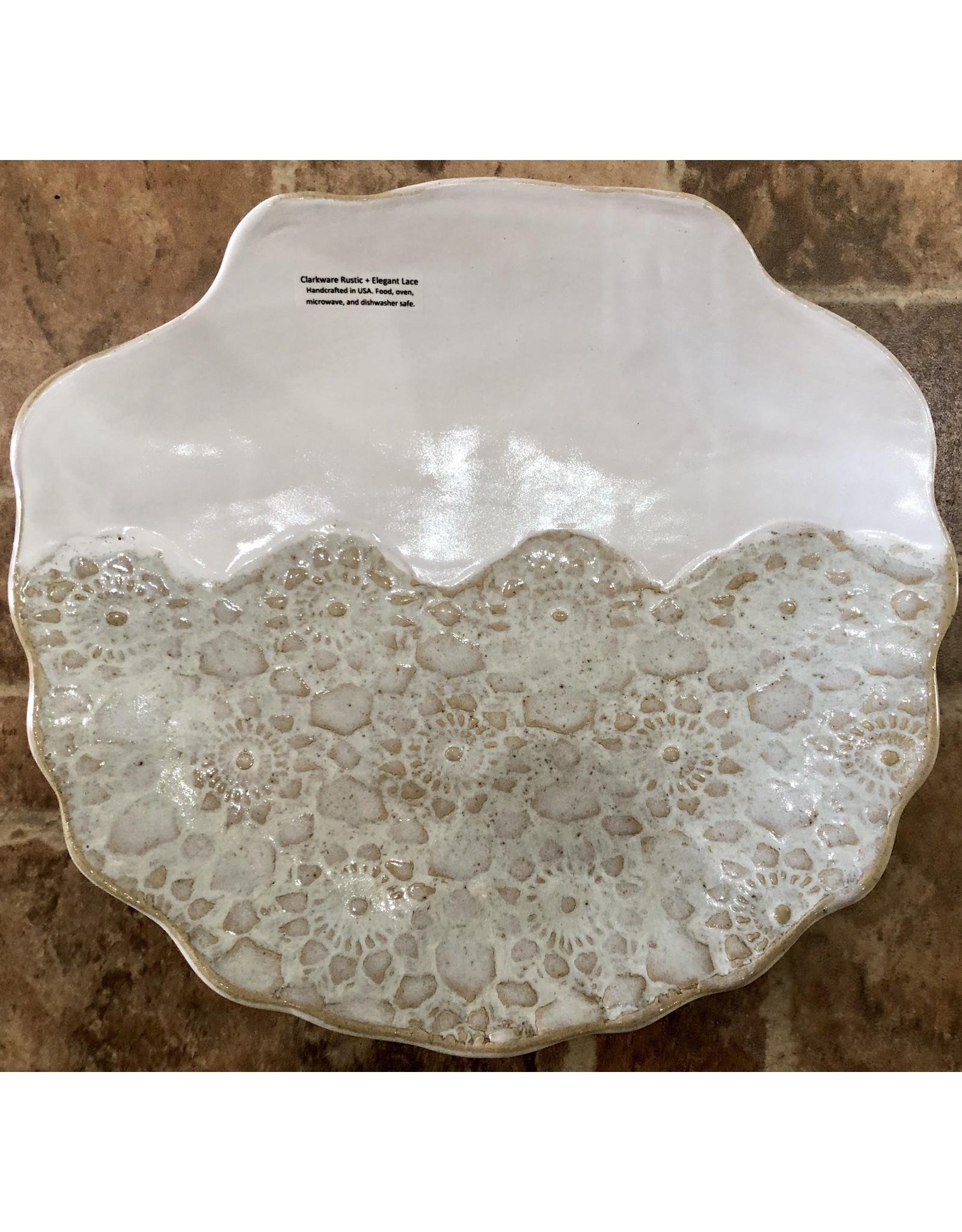 "Clarkware Pottery PLATTER, SHELL, Elegant Lace, XL, 12x12"", CLARK"