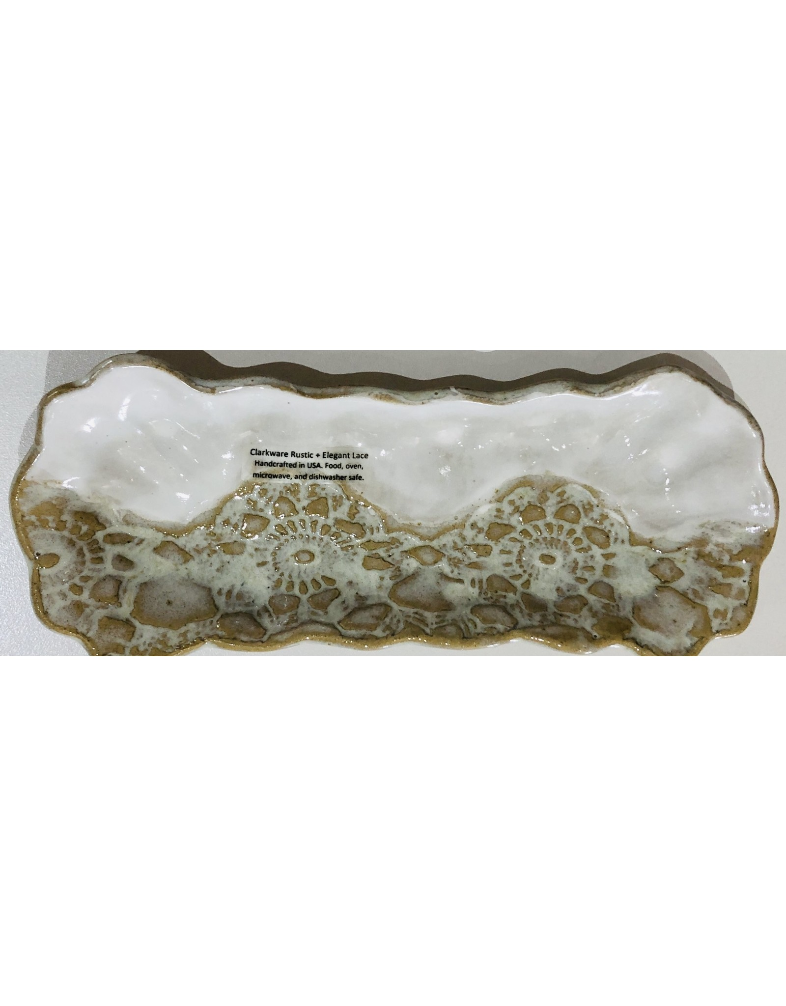 "Clarkware Pottery PICKLE TRAY, Elegant Lace, 9.5x4"", CLARK"