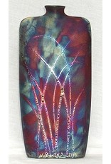 "Raku Art FLASK VASE, TALL,  14x7x2"", RAKU"