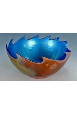 "Cosmic Clay Studio AZURE WAVE BOWL, RAKU, 8x5"", COSC"