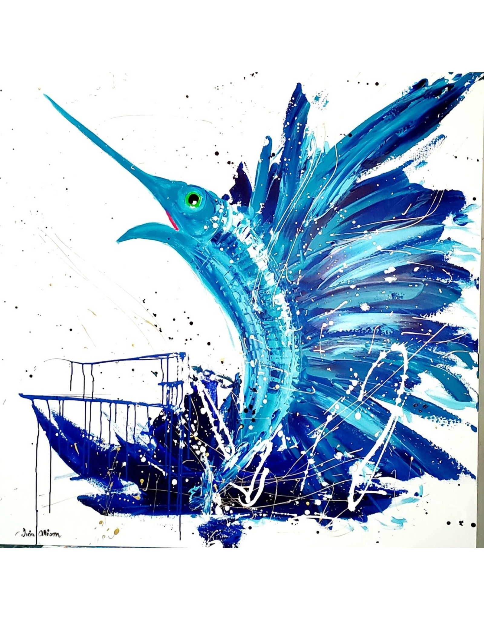 "Lisa Jill Allison HECK YAH! sailfish/original acrylic on GW Canvas, 48x48"" LISA"