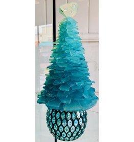 Susan Marinaccio SEA GLASS TREE, Aqua, Embellished pedestal, w/crystals, lrg., SUSM