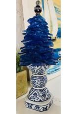 Susan Marinaccio SEA GLASS TREE, Asian porcelain pedestal, small, decorative finial, SUSM