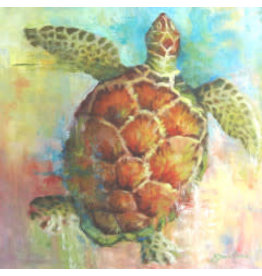 "Michaelann Bellerjeau CARIBBEAN CALICO, turtle, original oil on GW canvas, 20x20"", MICB"