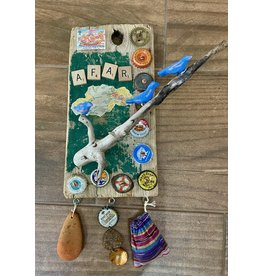 """Molly Potter Thayer AFAR, wall hanging, mixed media on driftwood, 11x15"""", MOLT"""
