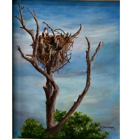 """Ruthann Hewson The Lookout, Original oil on canvas, framed, 19x24"""". RUTH"""