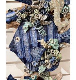 """Ellen Robinson DRIFTWOOD SCULPTURE w/sea creatures, hanging, 17"""",  EJAY"""