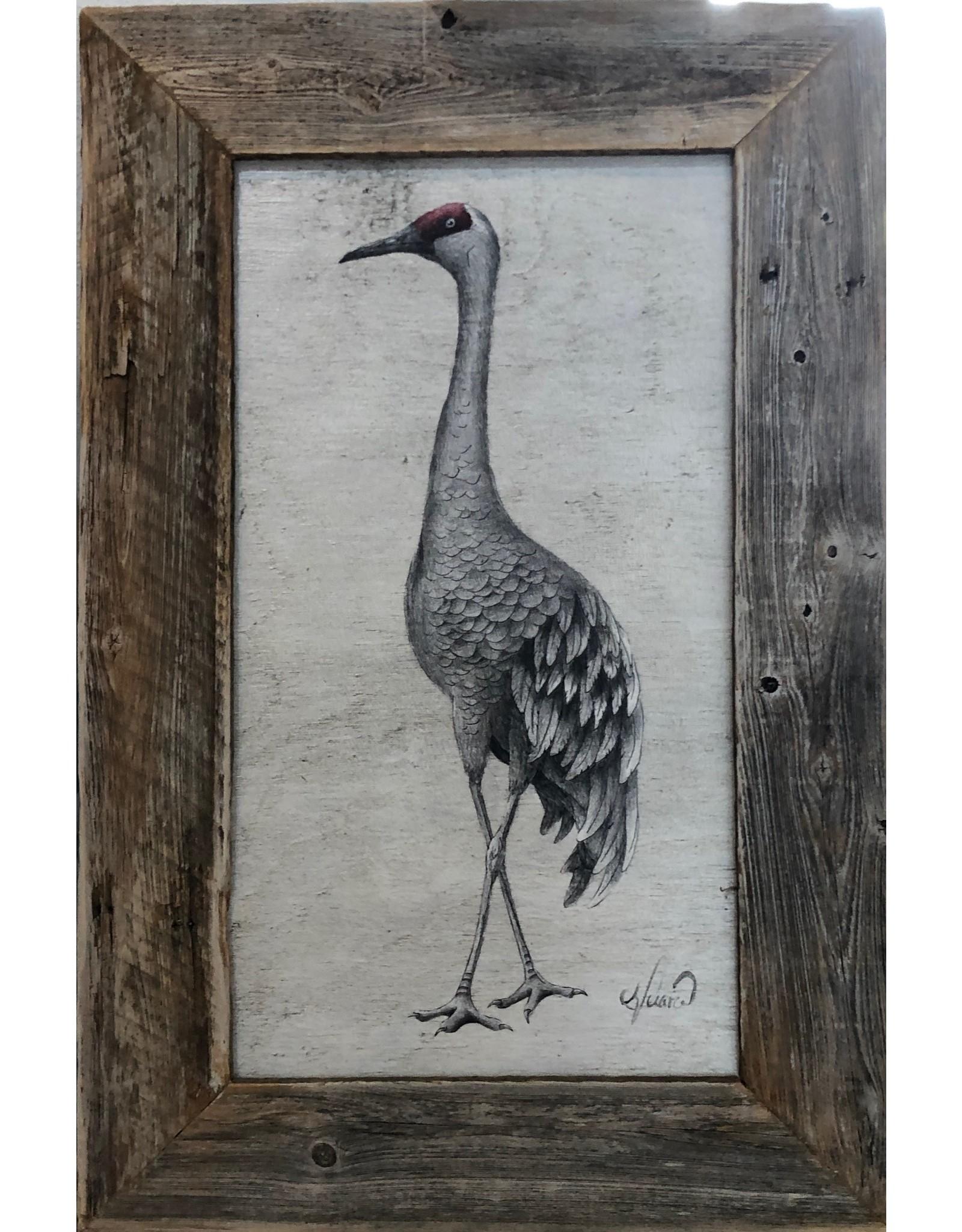 """Molly Pearce Sandhill Crane on panel, framed, 20x30"""", MOLP)"""