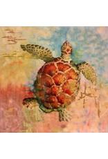 "Michaelann Bellerjeau CARIBBEAN CALICO. turtle, framed, archival giclee embellished w/metal leaf, 12x12"", MICB"