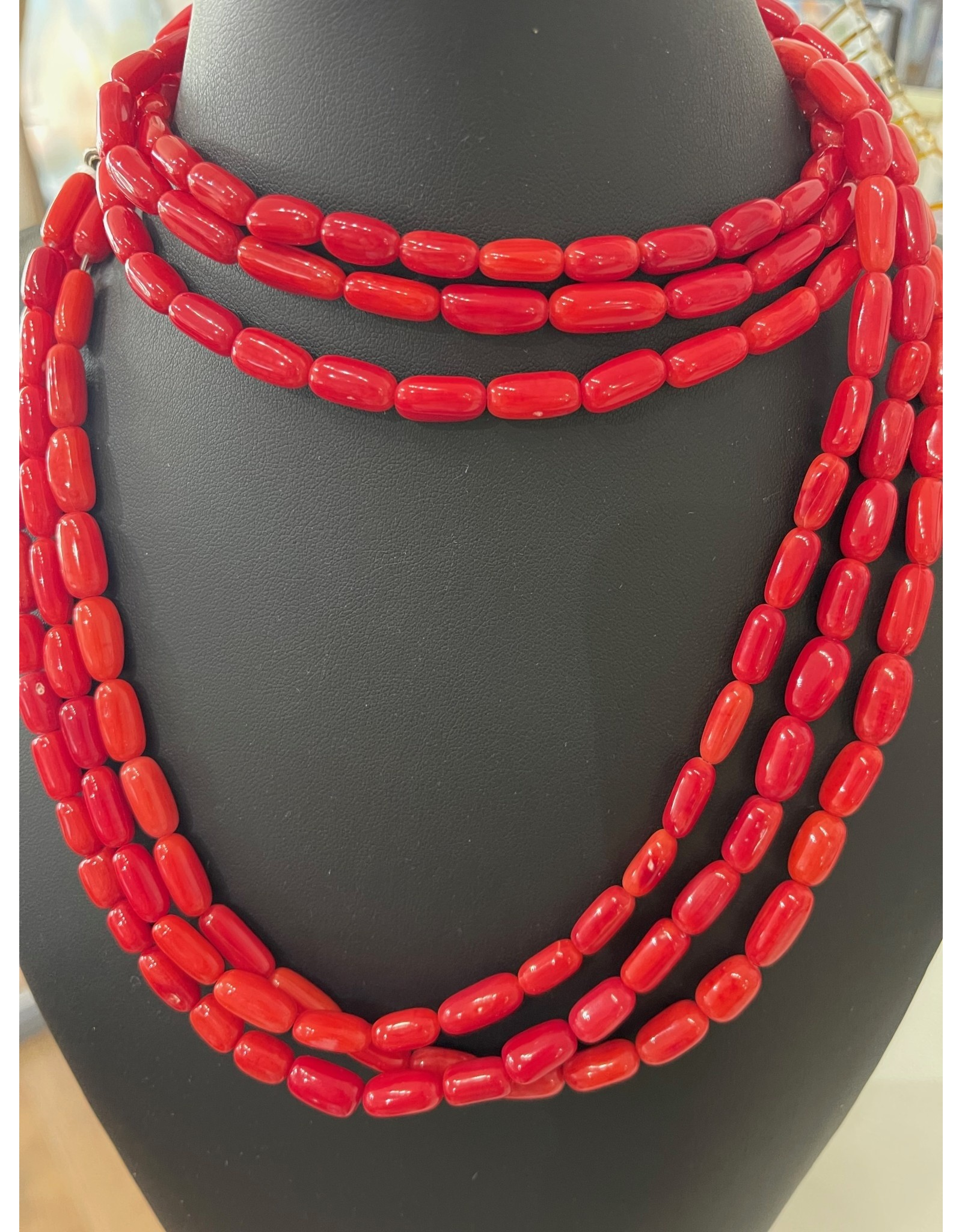 """Rare Finds NECKLACE, dyed red coral, sterling, 32"""", 3 strand, RARE"""