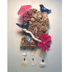 """Molly Potter Thayer Celebrate Summer, wall hanging w/birds on driftwood, 13x7"""", MOLT"""