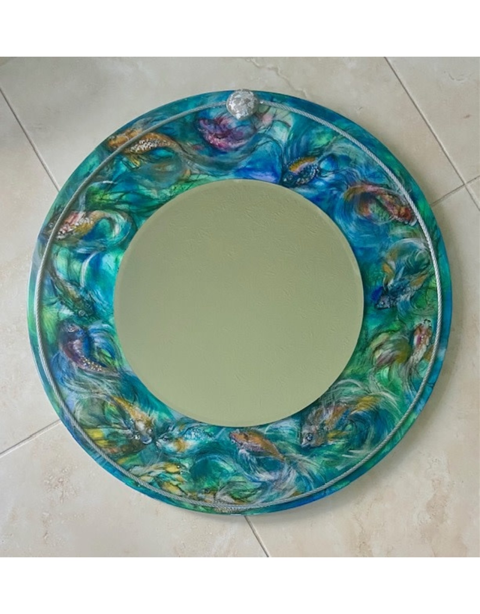 "Romani Schrems FISH TAILS, mirror, 24""D, ROMS"