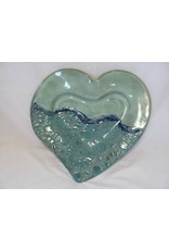 Clarkware Pottery HEART TRAY, white or blue,  (Lg., CLARK)