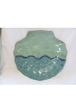 """Clarkware Pottery SHELL TRAY, Large, Blue or RL, 10x12"""", CLARK"""