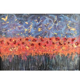"Teresa Kay Jeweled Poppies, orig acrylic on canvas, 15x18"", TERK"