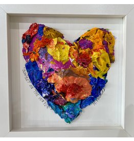 """Kelly Pounds """"Sunset on the Water"""" MM heart in shadow box frame, 9x9, KELP"""