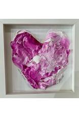 "Kelly Pounds ""Pretty in Pink"" MM heart in shadow box frame, 9x9, KELP"