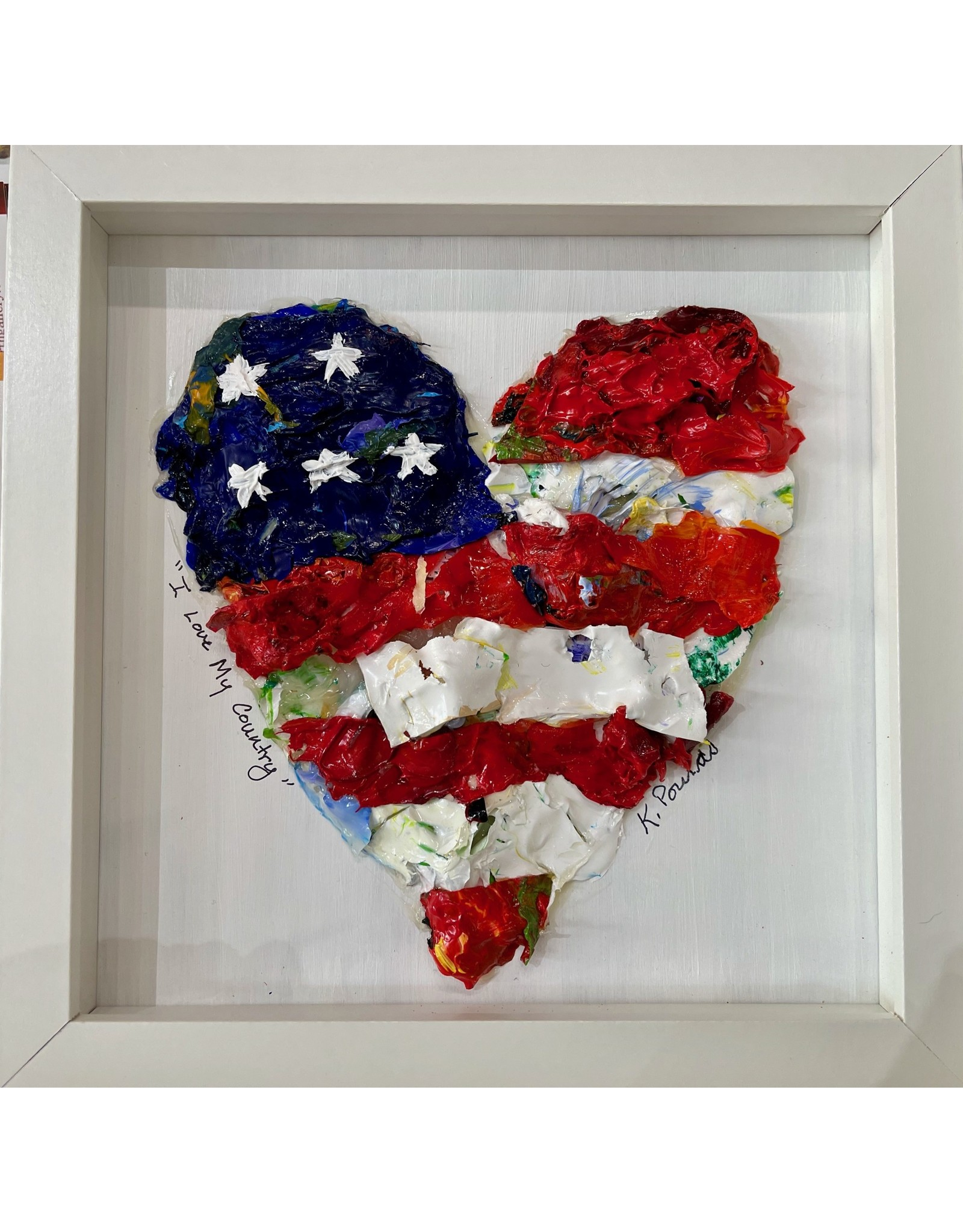 """Kelly Pounds """"God Bless the USA"""" MM heart in shadow box frame, 9x9, KELP"""