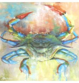 "Michaelann Bellerjeau Cobalt Crab, archival print, matted, 15x15"" MICB"